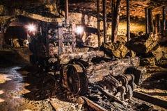 Automobile di miniera in una miniera d'argento, Tarnowskie sanguinoso, sito di eredità dell'Unesco Fotografia Stock