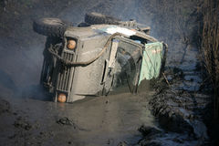 Automobile di Overthrowed Immagini Stock