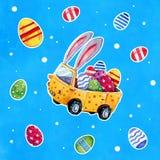 Automobile di Pasqua con le orecchie e le uova del coniglietto su fondo strutturato blu - illustrazione disegnata a mano dell'acq Immagini Stock