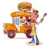 Automobile di pasto rapido del fumetto con il venditore degli hamburger Immagine Stock