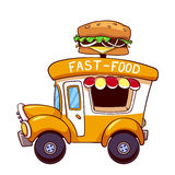Automobile di pasto rapido del fumetto con un grande hamburger Fotografie Stock