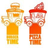 Automobile di pasto rapido del fumetto con un grandi hamburger e pizza Fotografia Stock Libera da Diritti
