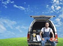 Automobile di riparazione di affari sul concetto di servizio del sito Fotografia Stock