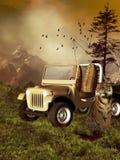 Automobile di safari con una tigre Fotografia Stock Libera da Diritti