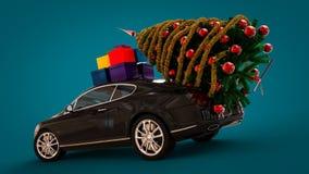 Automobile di Santa Claus Christmas con l'albero di Natale Fotografie Stock Libere da Diritti