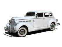 Automobile di sogno bianca di cerimonia nuziale della retro annata isolata Immagine Stock