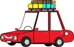 Automobile di viaggio rossa del fumetto divertente immagine stock libera da diritti