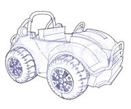 Automobile Drawing. A technical drawing of an automobile design, isolated on white background Royalty Free Stock Photos