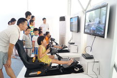 Automobile driving simulation, to attract people to experience Royalty Free Stock Photo