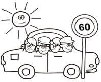 Automobile e bambini - libro da colorare Fotografie Stock Libere da Diritti