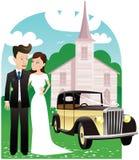 Automobile e chiesa delle persone appena sposate illustrazione vettoriale