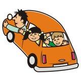 Automobile e famiglia arancio Immagine Stock Libera da Diritti