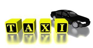 automobile e logo del taxi 3D isolati nel bianco Immagini Stock