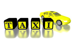 automobile e logo del taxi 3D isolati nel bianco Immagine Stock Libera da Diritti