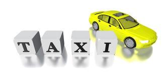 automobile e logo del taxi 3D isolati nel bianco Immagini Stock Libere da Diritti