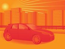Automobile e paesaggio urbano Fotografia Stock