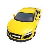 Automobile eccellente gialla isolata sui precedenti bianchi Fotografie Stock Libere da Diritti