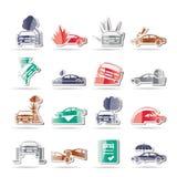 Automobile ed icone di assicurazione e di rischio di trasporto Fotografia Stock Libera da Diritti
