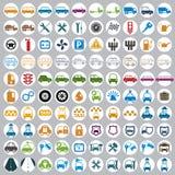 100 automobile ed icone di trasporto Fotografia Stock