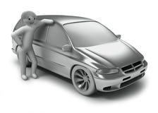 Automobile ed uomini d'argento Immagine Stock