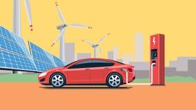 Automobile elettrica che fa pagare alla stazione di carico Fotografie Stock