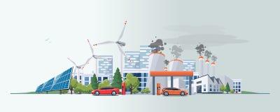 Automobile elettrica contro la fonte a energia di combustione fossile Immagini Stock