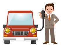 Automobile elettrica ed uomo d'affari Fotografia Stock
