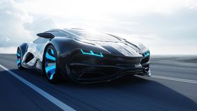 Automobile elettrica futuristica nera sulla strada principale in deserto Azionamento molto veloce Concetto di futuro rappresentaz illustrazione di stock