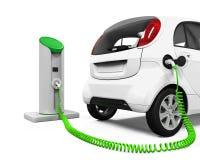 Automobile elettrica nella stazione di carico Fotografia Stock
