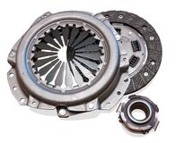 Automobile engine clutch. Isolated on white with clipping path royalty free stock photos