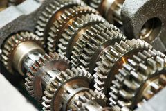 Automobile engine or transmission gear box. Close-up of automobile engine or transmission steel gear box Royalty Free Stock Images