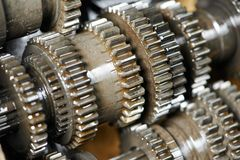 Automobile engine or transmission gear box. Close-up of automobile engine or transmission steel gear box Stock Images