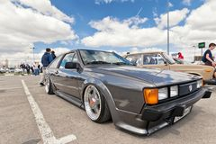 Automobile exhibition in the open air dedicated to tuning and ca. VOLGOGRAD - APRIL 21: Automobile exhibition in the open air dedicated to tuning and car audio Stock Images