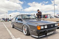 Automobile exhibition in the open air dedicated to tuning and ca. VOLGOGRAD - APRIL 21: Automobile exhibition in the open air dedicated to tuning and car audio Royalty Free Stock Image