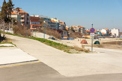 Automobile exit to the beach in Pomorie, Bulgaria Stock Image