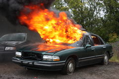An automobile fire. An automobile engulfed in fire Royalty Free Stock Images