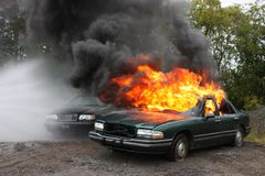 An automobile fire Stock Photos