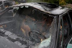 An automobile fire Stock Photo