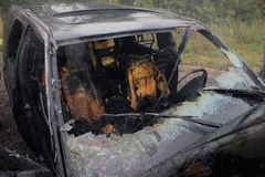 An automobile fire. An auto interior after the fire is put out Royalty Free Stock Photography
