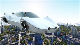 Automobile futuristica che sorvola la città, città Trasporto del futuro Siluetta dell'uomo Cowering di affari rappresentazione 3d illustrazione di stock