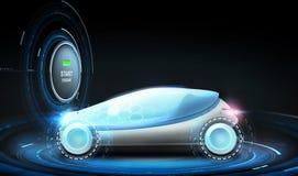 Automobile futuristica di concetto con l'icona di eco Fotografie Stock Libere da Diritti