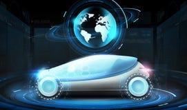 Automobile futuristica di concetto con l'ologramma del globo della terra Fotografie Stock