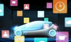 Automobile futuristica di concetto con le icone virtuali del menu Fotografie Stock
