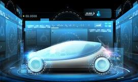 Automobile futuristica di concetto e schermi virtuali Immagini Stock
