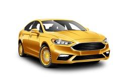 Automobile generica del Business class dell'oro su fondo bianco con il percorso isolato illustrazione vettoriale