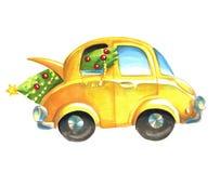 Automobile gialla con l'albero di Natale verde dentro Fotografia Stock