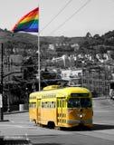 Automobile gialla della via Immagine Stock Libera da Diritti