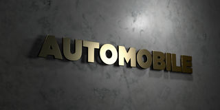 Automobile - Gold text on black background - 3D rendered royalty free stock picture Royalty Free Stock Images