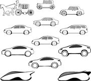 Century Car Evolution. Automobile history: how the shape has evolved in one century Royalty Free Stock Photo