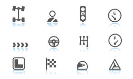Automobile icons. Simple automobile icons with reflection Royalty Free Stock Image